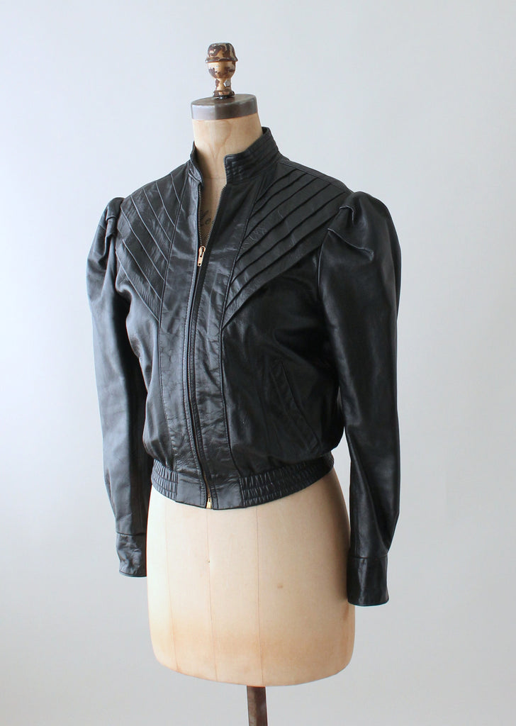 Vintage 1970s Puff Sleeve Black Leather Jacket