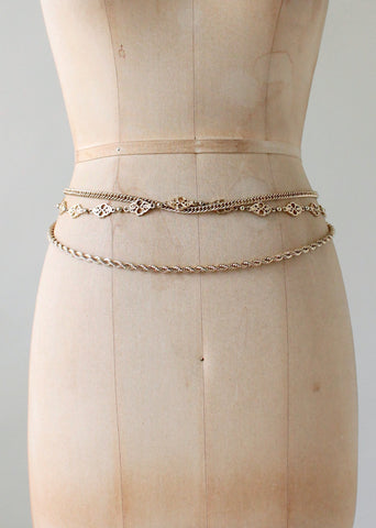 Vintage 1980s Gold Chains Hip Belt