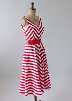 Vintage 1980s Red and White Striped Sundress