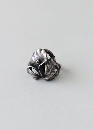Vintage Art Nouveau Sterling Silver Lily Ring