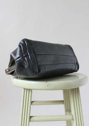 Vintage Oroton Black Leather Doctor Bag Purse