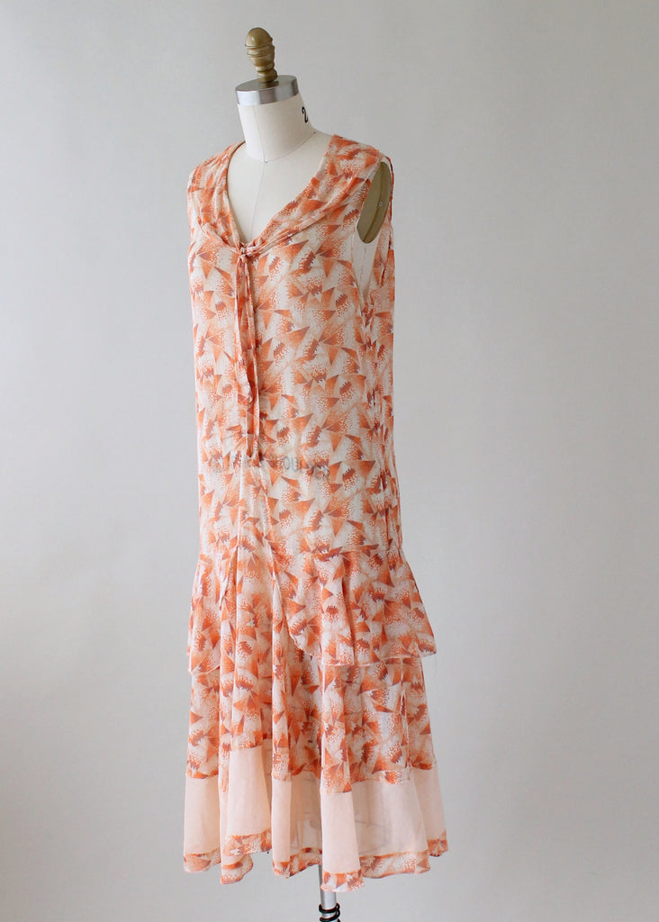 Vintage 1920s Gauzy Deco Print Cotton Day Dress