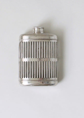 Vintage 1920s Caged Glass and Metal Flask