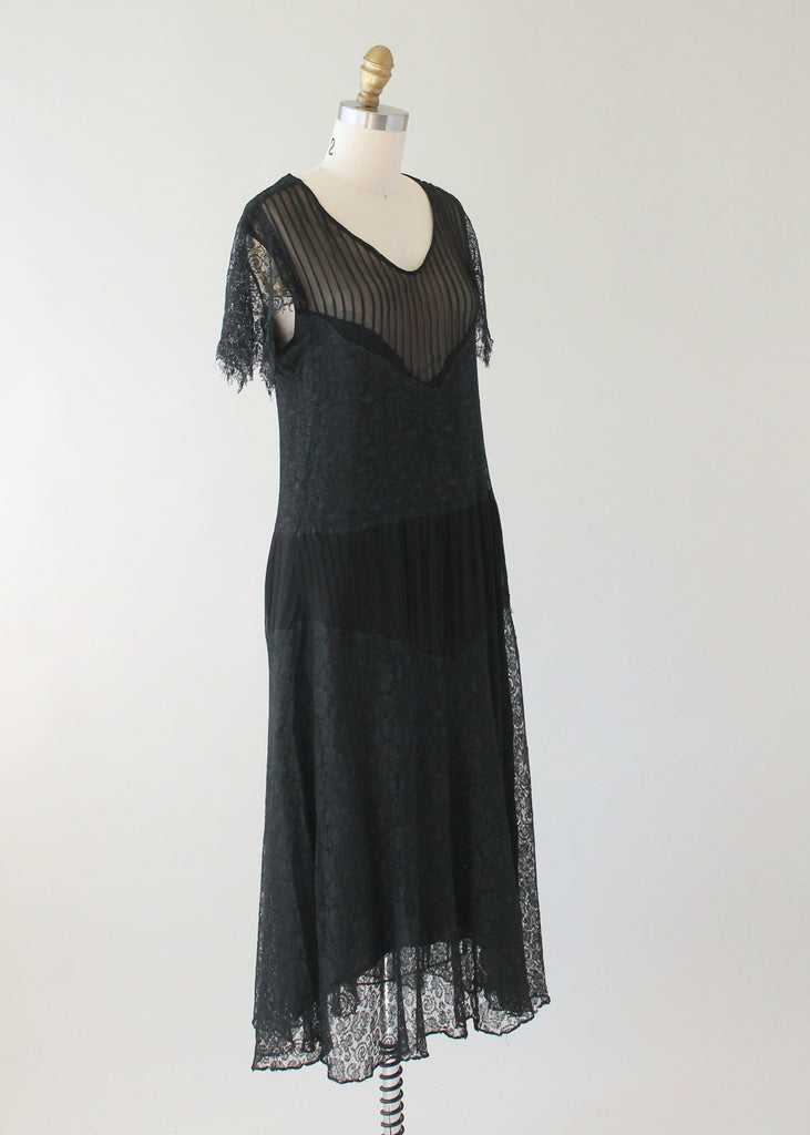 Vintage 1920s Black Lace and Silk Dress