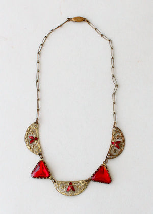 Vintage 1920s Red Glass and Enameled Necklace