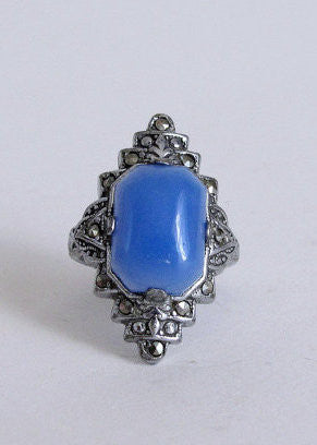Vintage 1930s Art Deco Blue and Marcasite Cocktail Ring
