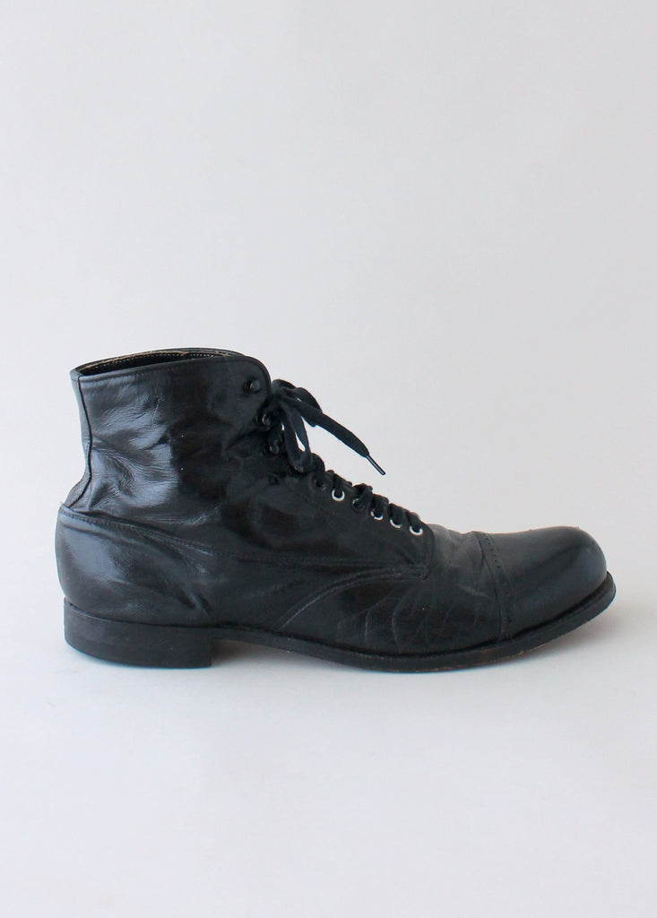 1930s Mens Cap Toe Ankle Boots Raleigh Vintage