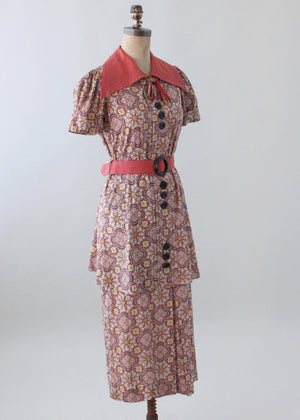 Vintage Mid 1930s Floral Cotton Day Dress with Peplum
