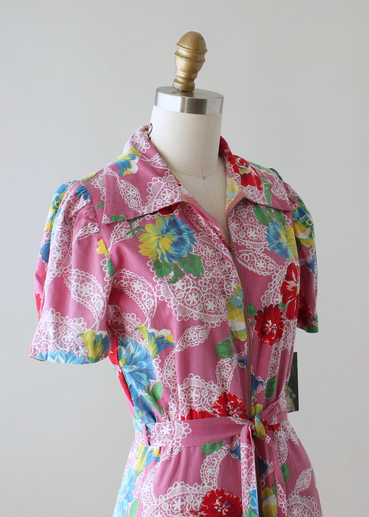 Vintage 1940s Floral Cotton Zip Front Robe Dress Raleigh