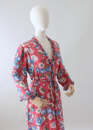 Vintage 1940s Pink Floral Rayon Dressing Gown or Maxi Dress