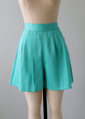 Vintage 1940s Teal Cotton Side Button Shorts