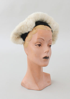 Vintage 1940s White Fur and Black Felt Hat