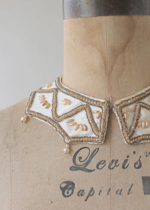 Vintage 1950s Pearl Beaded Sweater Collar with Dangles