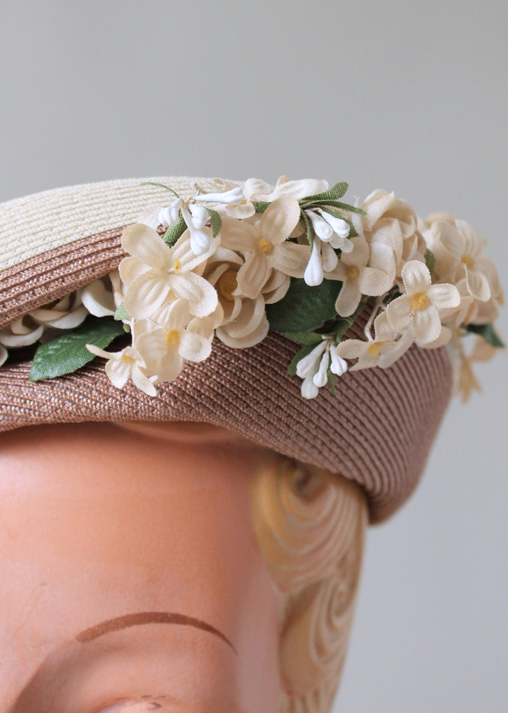 Vintage 1940s Straw Beret with Floral Millinery
