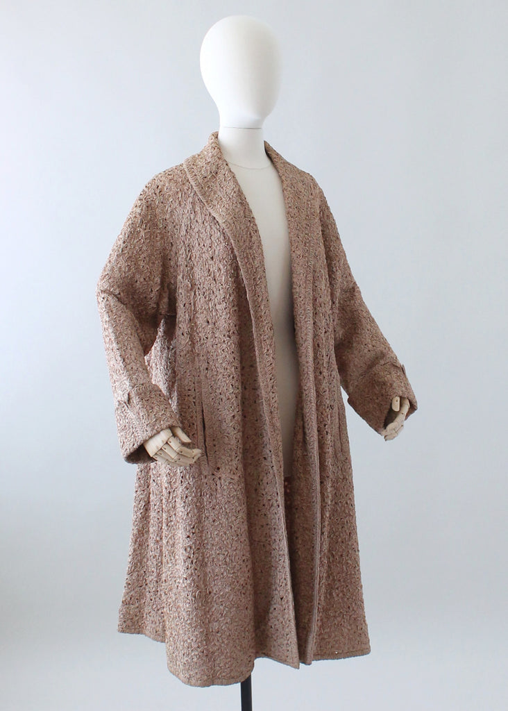 Vintage 1950s Woven Ribbon Lace Swing Coat