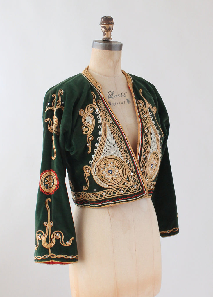 Vintage 1960s Green Eastern Europe Embroidered Jacket