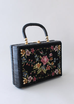 Vintage 1960s Black Wicker Box Purse with Floral Needlework
