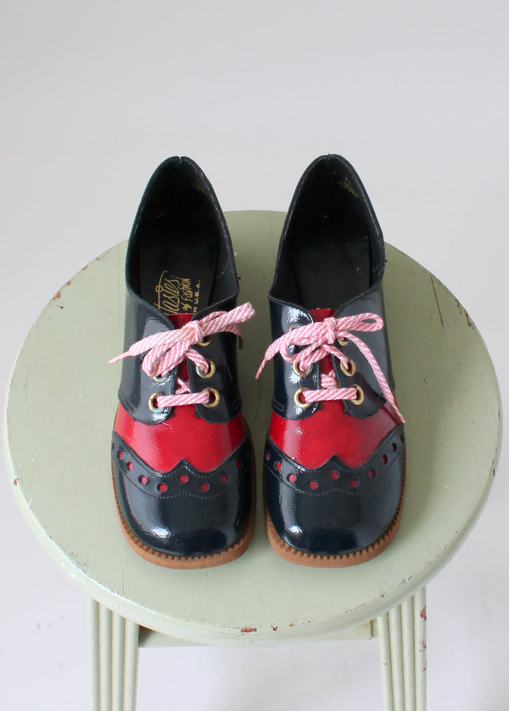 Vintage 1960s MOD Navy and Red Oxfords