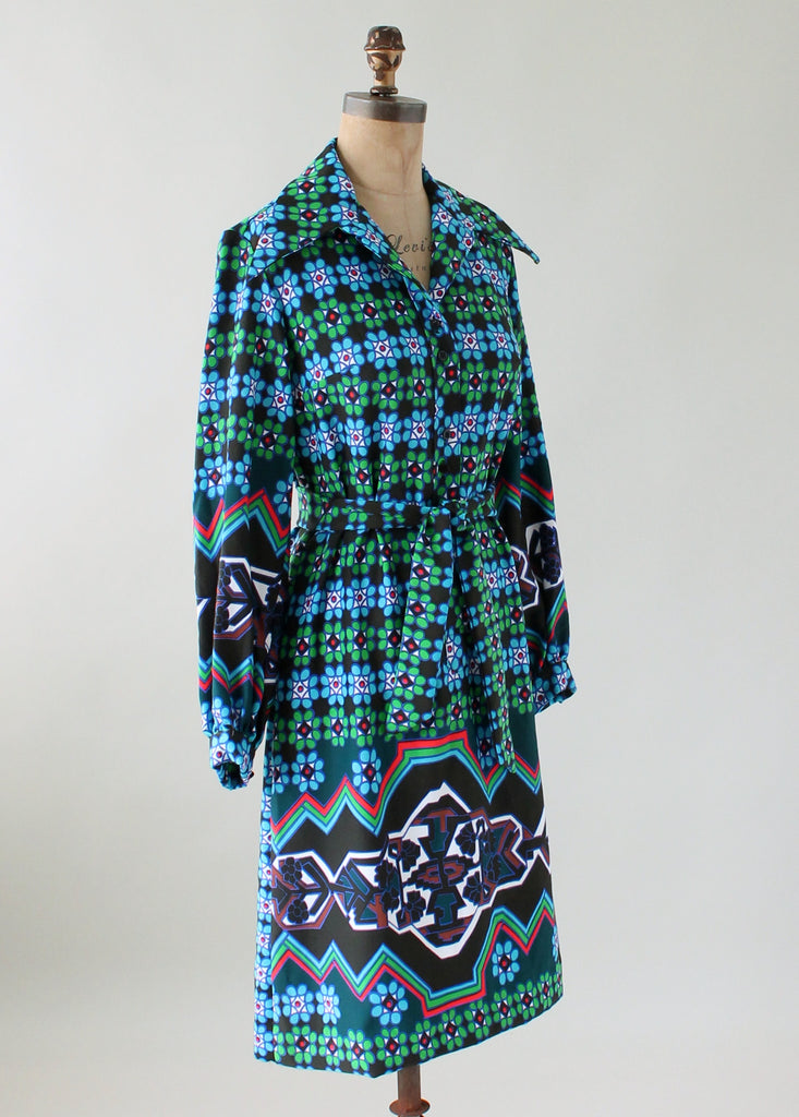 Vintage 1970s Lanvin Colorful MOD Shirt Dress