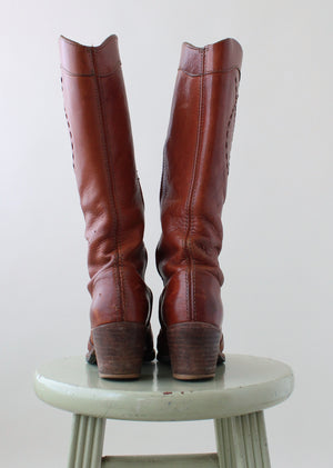Vintage 1970s Leather Campus Cowboy Boots