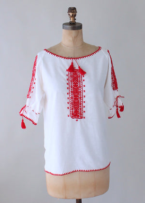 Vintage 1970s Red and White Embroidered Cotton Peasant Shirt
