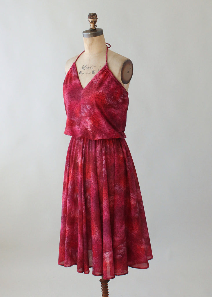 Vintage 1970s Shades of Red Halter Sundress