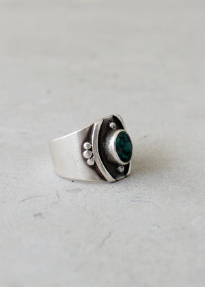 Vintage 1970s Sterling Silver and Turquoise Nugget Ring