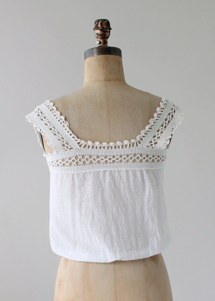 Vintage 1910s Textured Cotton and Lace Summer Top