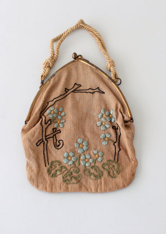 Antique Edwardian Embroidered Linen Purse