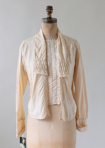 Edwardian Ecru Silk and Lace Blouse