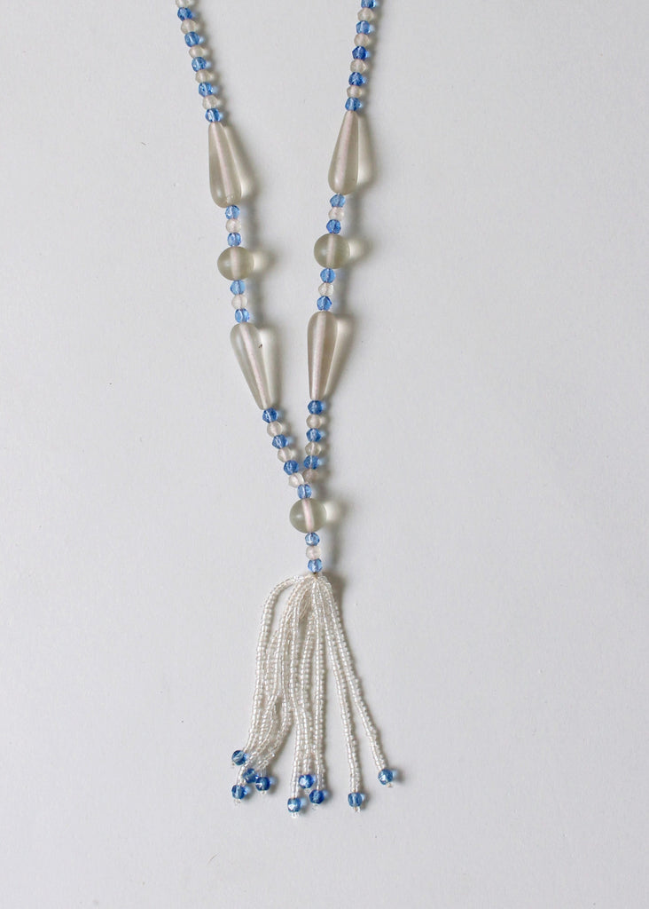 Vintage 1920s Blue and Clear Glass Tassel Necklace