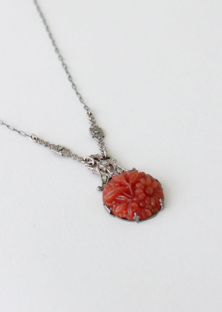 Vintage 1920s Carved Carnelian Glass and Marcasite Necklace