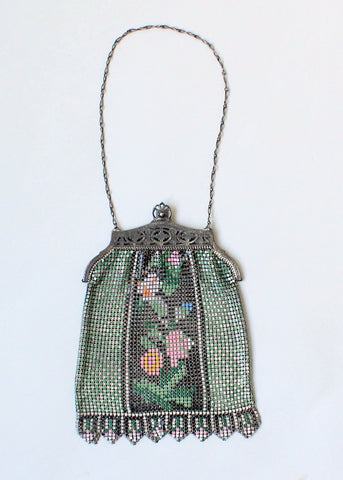 Vintage 1920s Floral Painted Mesh Purse