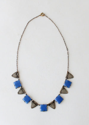 Vintage 1930s Blue Glass and Marcasite Necklace