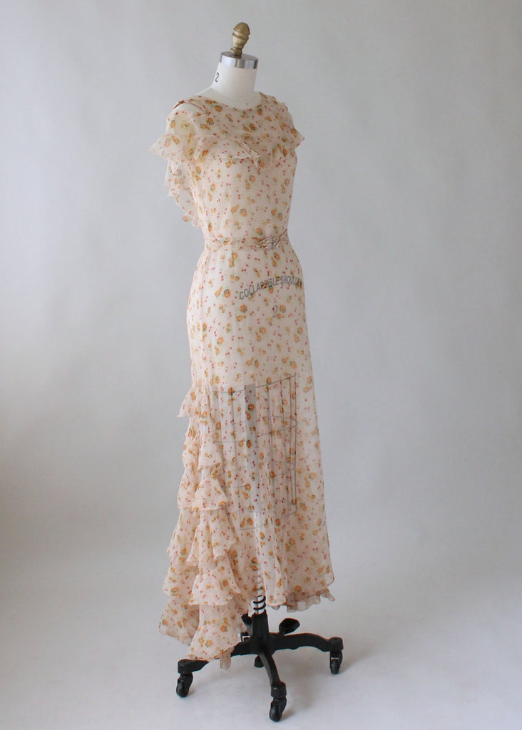 Vintage 1930s Floral Crepe Ruffled Lawn Party Dress