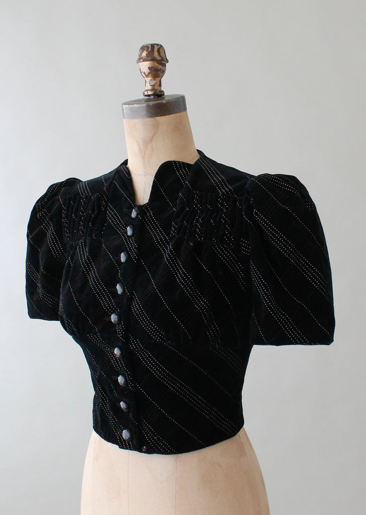 Vintage 1930s Stitched Striped Velvet Cropped Jacket Top