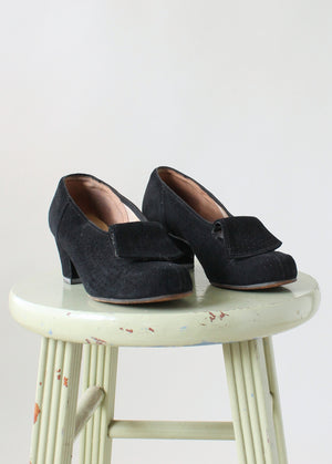 Vintage 1930s Black Art Deco Pumps