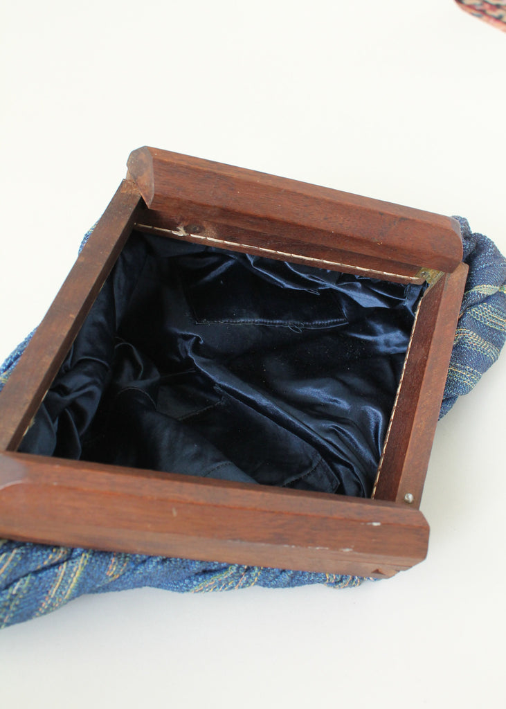 Vintage 1940s Blue Fabric Clutch with Wood Frame