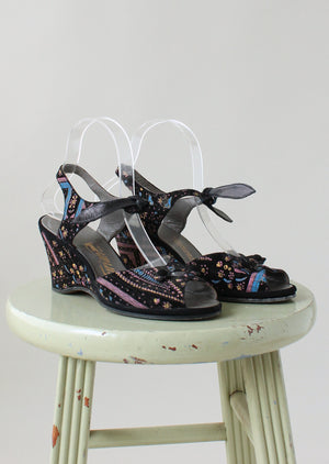 Vintage Late 1940s Painted Velvet Ankle Tie Sandals