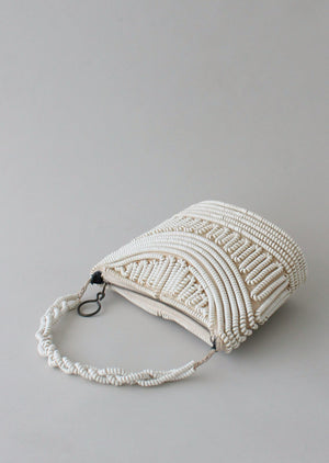 Vintage 1940s White Telephone Cord Purse