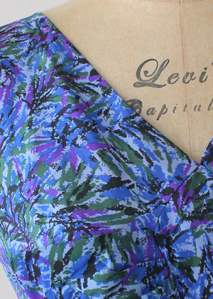 Vintage 1950s Purple and Blue Burst Silk Dress