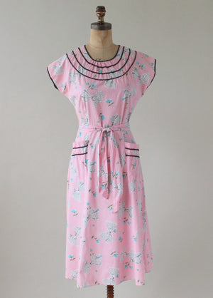 Vintage 1950s Sweet Novelty Print Pink Wrap Dress