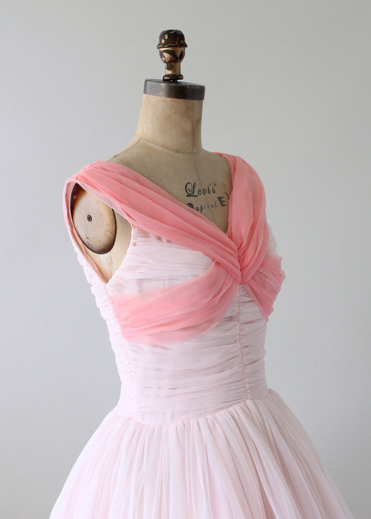 Vintage 1950s Two Tone Pink Chiffon Party Dress