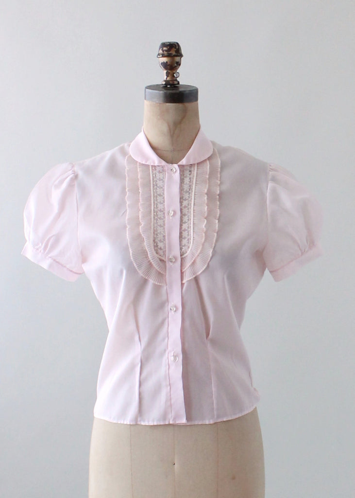 Vintage 1950s Pink Ruffle Front Nylon Blouse Raleigh Vintage