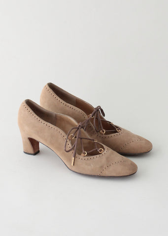 Vintage 1960s MOD Tan Suede Lace Up Shoes