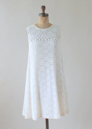 Vintage 1960s MOD White Knit Lace Tent Dress