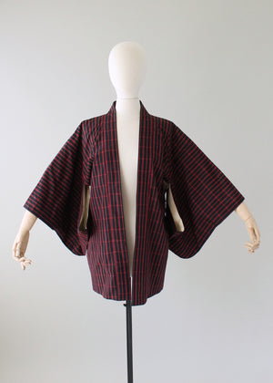 Vintage 1960s Red and Black Check Haori Kimono Jacket