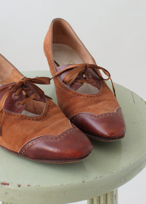 Vintage 1960s Two Tone Pointed Toe Oxfords