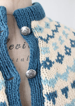Vintage 1970s Turi Blue and Tan Fair Isle Cardigan