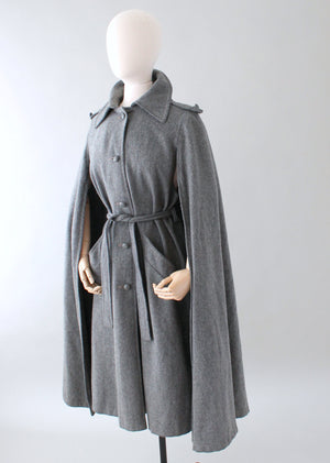 Vintage 1970s Grey Wool Belted Coat Cape